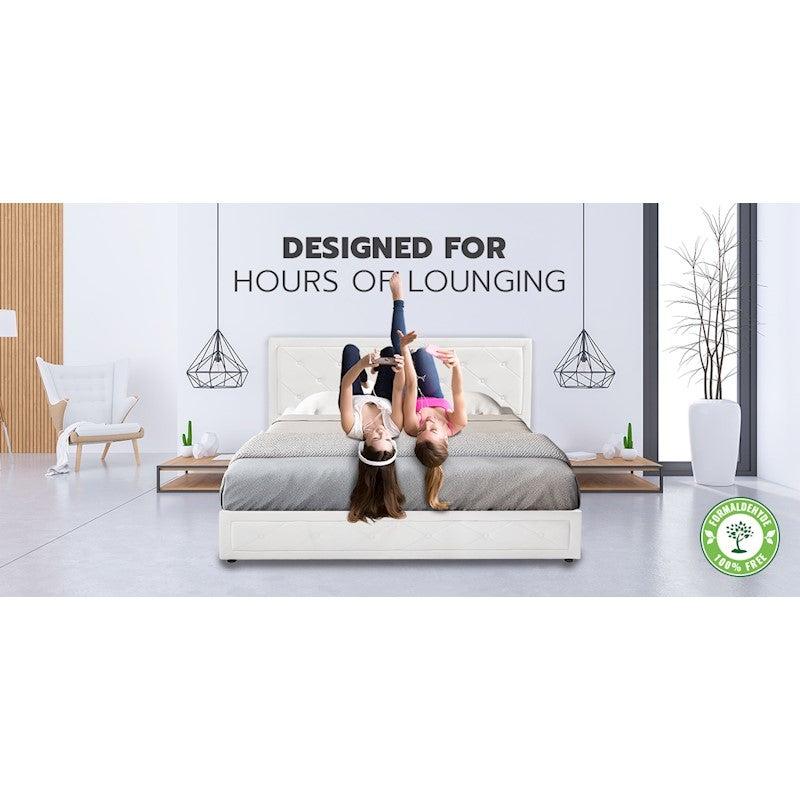 Royal Sleep King Leather Bed Frame Mattress Base Wooden