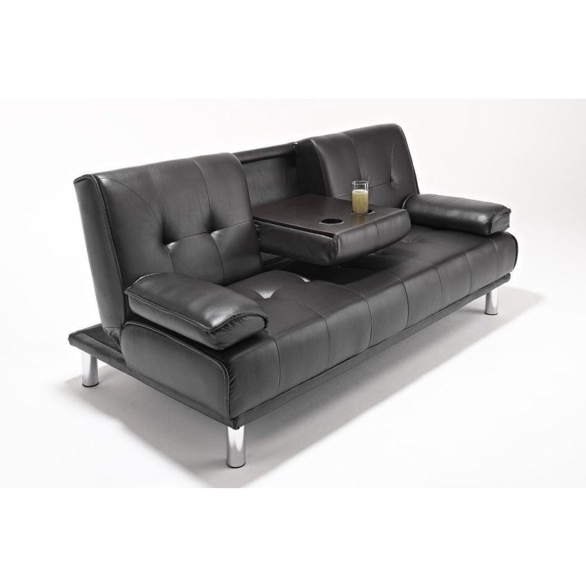 Outstanding 3 Seat Faux Leather Tufted Westminster Futon Sofa Bed In Black Spiritservingveterans Wood Chair Design Ideas Spiritservingveteransorg