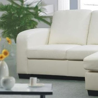 Westminster White Bonded Leather Sofa Couch With Chaise
