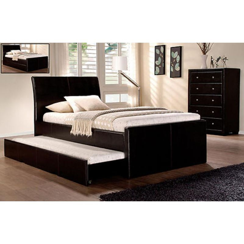 sports shoes 23f50 85144 PU Leather Westminster King Single Bed Frame w Full Trundle Bed in Black