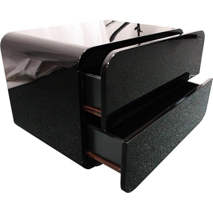 Prado Mdf Round Edge High Gloss Bedside Table Black Buy