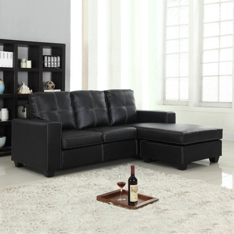 PU Leather Lounge Suite with Chaise Lounge in Black