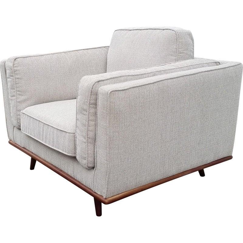 York Linen Fabric Sofa Armchair w Wooden Legs Beige | Buy ...