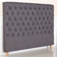 Sean King Size Fabric Bed Head w Studs in Charcoal