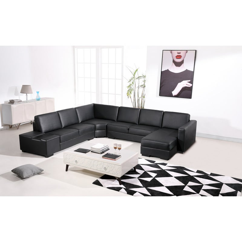 Brilliant Diva 6 Seater Bonded Leather Sofa Lounge In Black Ocoug Best Dining Table And Chair Ideas Images Ocougorg