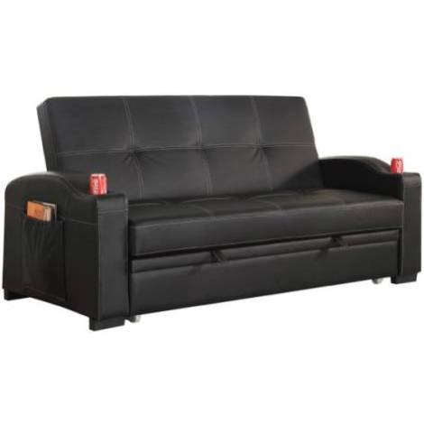 Maple PU Leather Futon Sofa Bed with Cup Holders