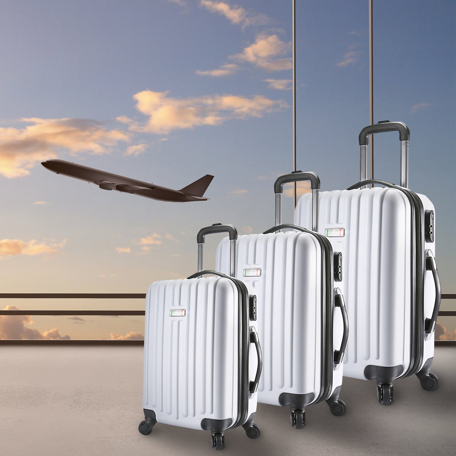 temperament shoes cheapest best price Milano Deluxe 3pc ABS Luggage Suitcase Luxury Hard Case Shockproof Travel  Set