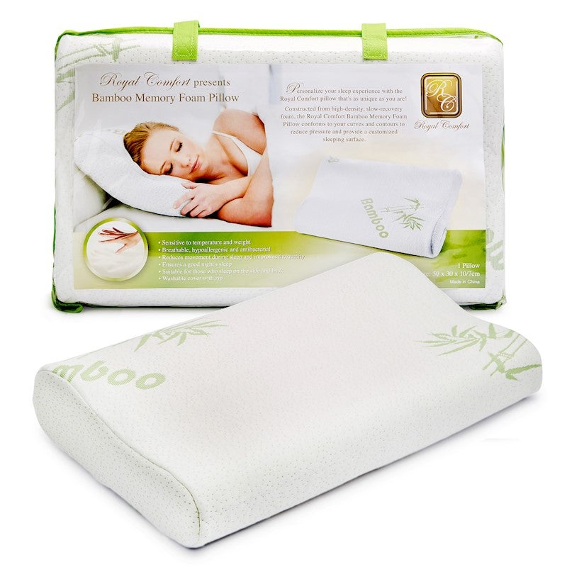 Bamboo Latex Foam Pillow Bamboo Fabric Cover Contoured//Standard Shapes