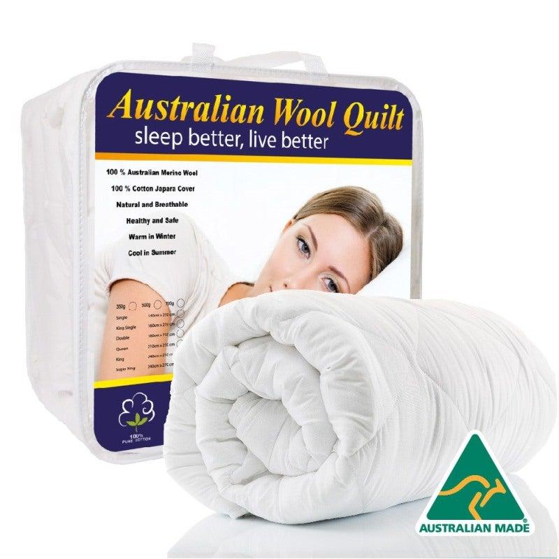 King Single Bed Australian Merino Wool Quilt Doona 700gsm Heavy Winter Weight