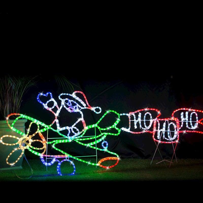 Led Outdoor Christmas Lights.Led Rope Light Santa Jet Plane Multi Colour Outdoor Christmas Light Motif 190cm