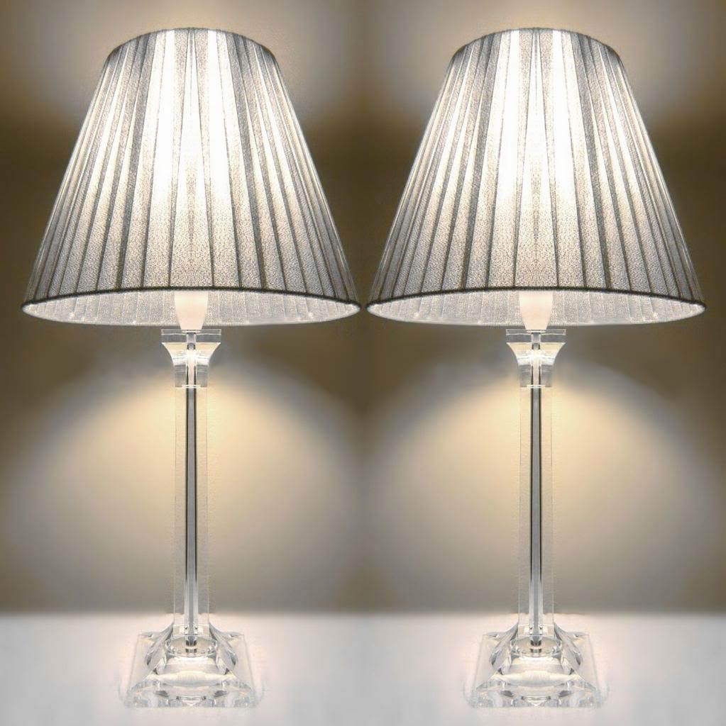 finest selection 0ba2f 53be7 2x Acrylic & Ribbon Bedside Table Lamps in Silver