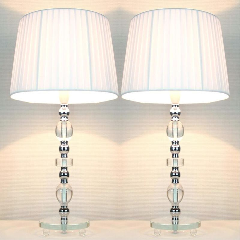 Pair of Modern Tall Crystal Table Lamps Bedside Lights Satin Brass White Shade