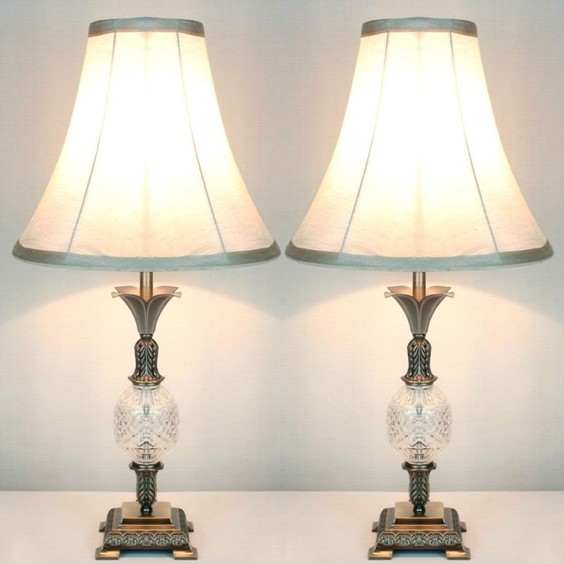 Table Lamps 2x Glass w Base Vintage Bedside Metal f7b6gy