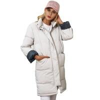 Longline Cotton Quilted Puffer Coat in Ivory