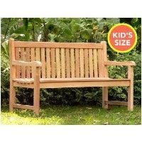 Outdoor Itty Bitty Teak Wood Park Bench for Kids