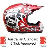 Adult Red Motocross Helmet with Goggles