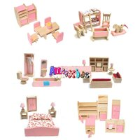 All 4 Kids Wooden Doll House Furniture Miniature 6 Rooms & 4 Dolls Set