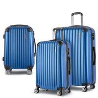 3pc Luggage Sets Suitcases Set Travel Hard Case Lightweight Blue