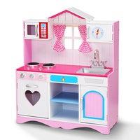 Keezi Kids Kitchen Set Pretend Play Wooden Toys Cooking Utensils Girls Childrens