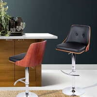 Artiss Wooden Bar Stools Bar Stool Kitchen Dining Chairs BLACK PU Leather Lydia