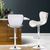 Artiss 2x Bar Stools RUBY Kitchen Swivel Bar Stool Leather Chairs Gas Lift White