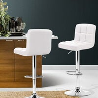Artiss 2x Leather Bar Stools NOEL Kitchen Chairs Swivel Bar Stool Gas Lift White