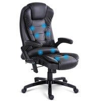Artiss 8 Point PU Leather Reclining Massage Chair - Black