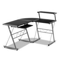 Artiss Office Computer Desk Corner Table Metal Keyboard Tray Top Shelf Black