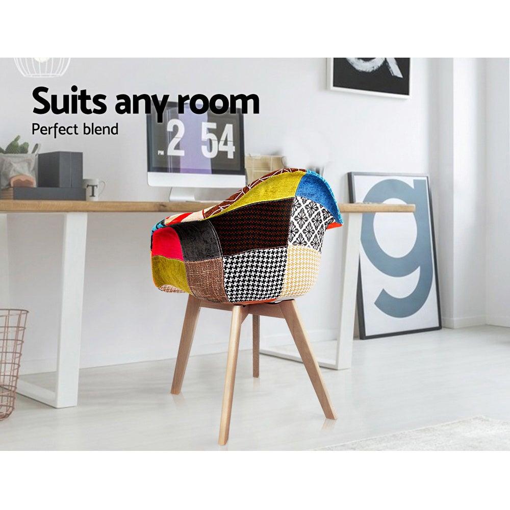 Artiss 2x Retro Replica Eames DAW Fabric Chair Dining ...