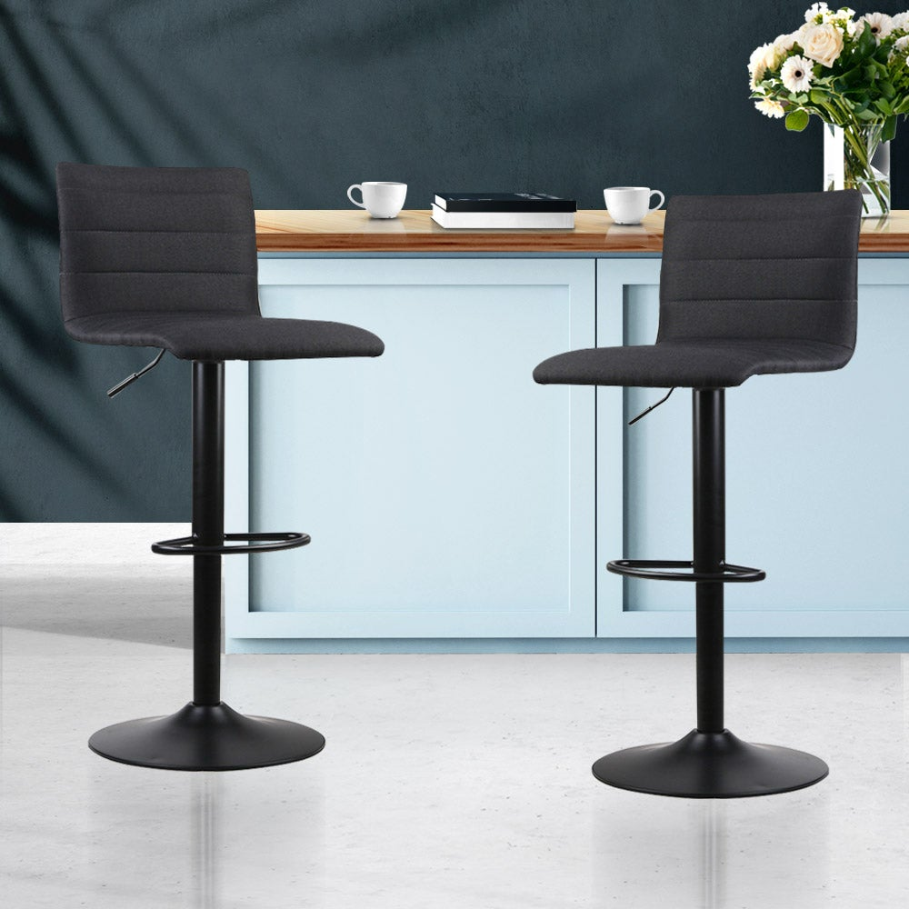artiss 2x bar stools fabric kitchen cafe swivel bar stool