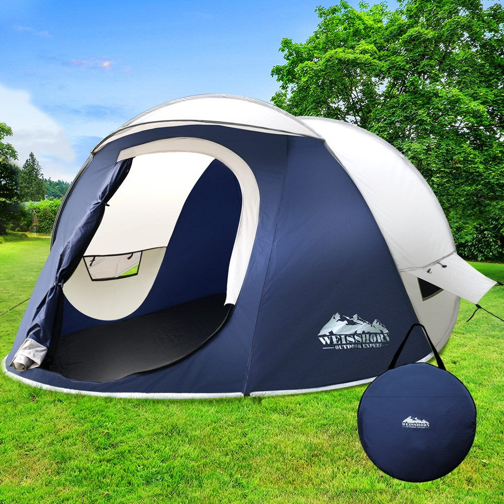 Pop Up Camping Tent 4 Person Family Instant Hiking Beach ...