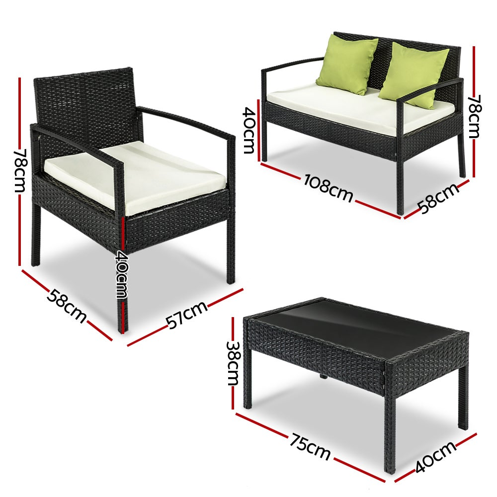 Oasis 4 Seater Garden Lounging Table And Chairs Set: 4 Seater Sofa Set Outdoor Furniture Lounge Setting Wicker