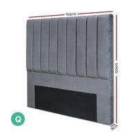 QUEEN Size Bed Head Headboard Bedhead Velvet Frame Base Vela Grey