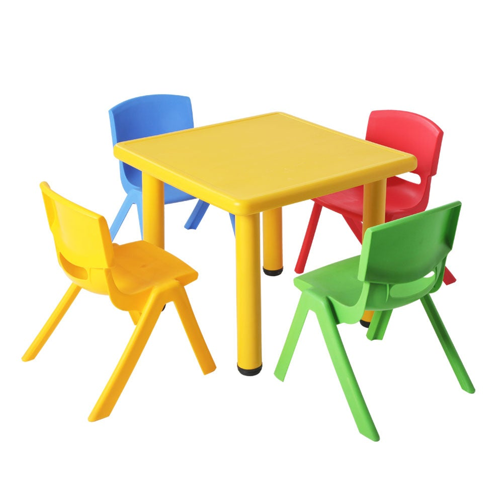 Keezi 5 Piece Kids Table And Chair Set Yellow Buy Kid