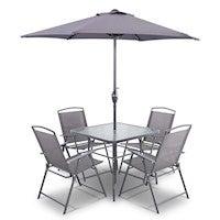 Gardeon 6 Piece Square Outdoor Dining Set - Grey