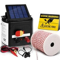 Giantz 5km Solar Powered Electric Fence Energiser Battery Energizer Charger Tape