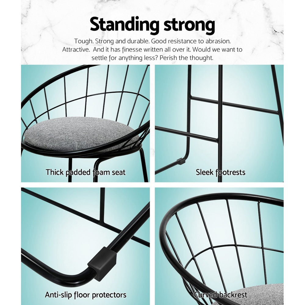 artiss 2x nordic bar stools metallic bar stool kitchen