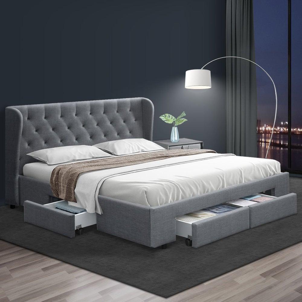 King Size Bed Frame Base Mattress With Storage Drawer ...