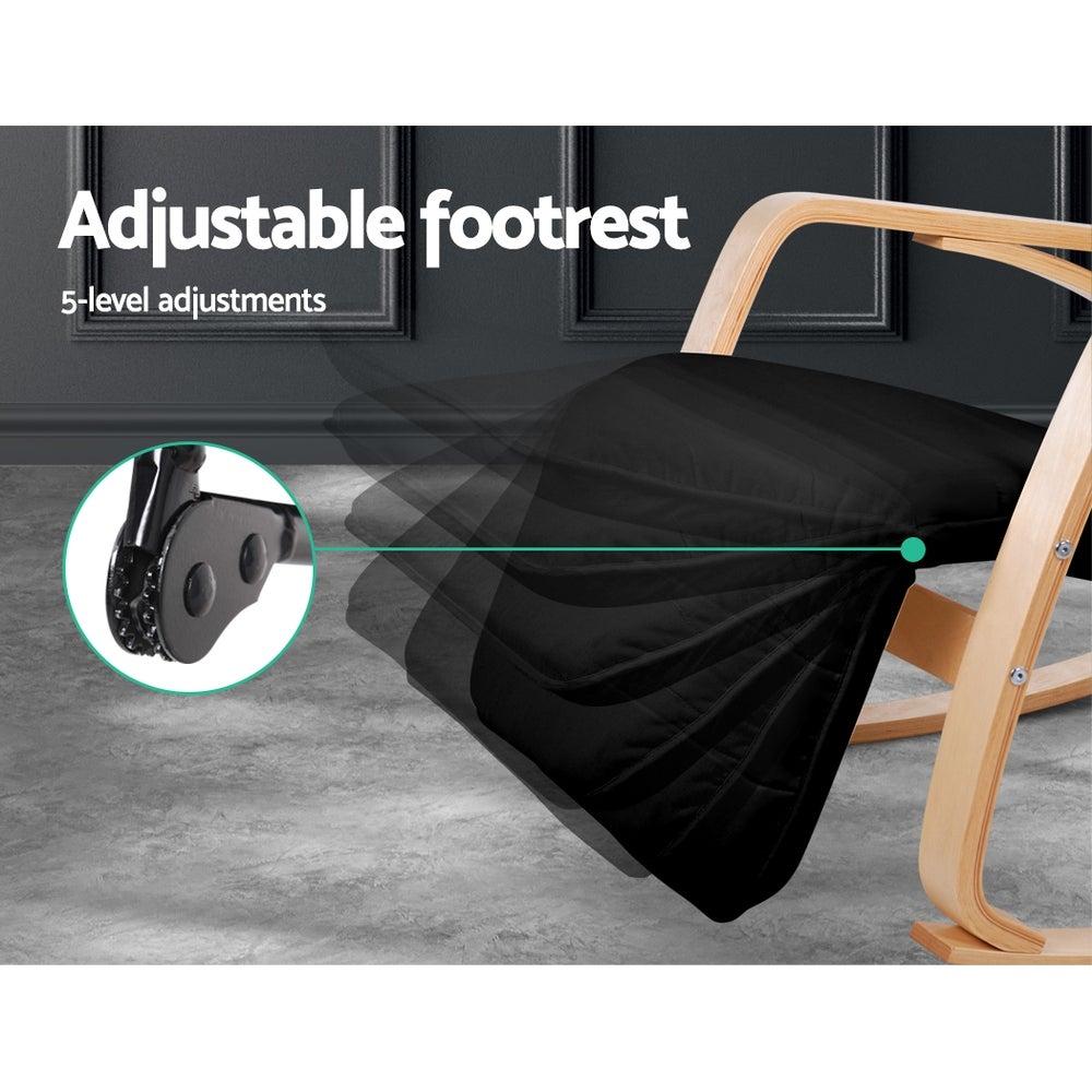 Artiss Bentwood Rocking Armchair Wooden Adjustable Lounge