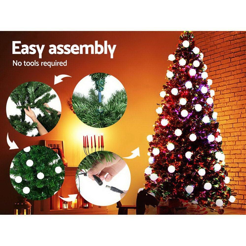 Jingle Jollys 2 1m 7ft Led Christmas Tree Xmas Fibre Optic