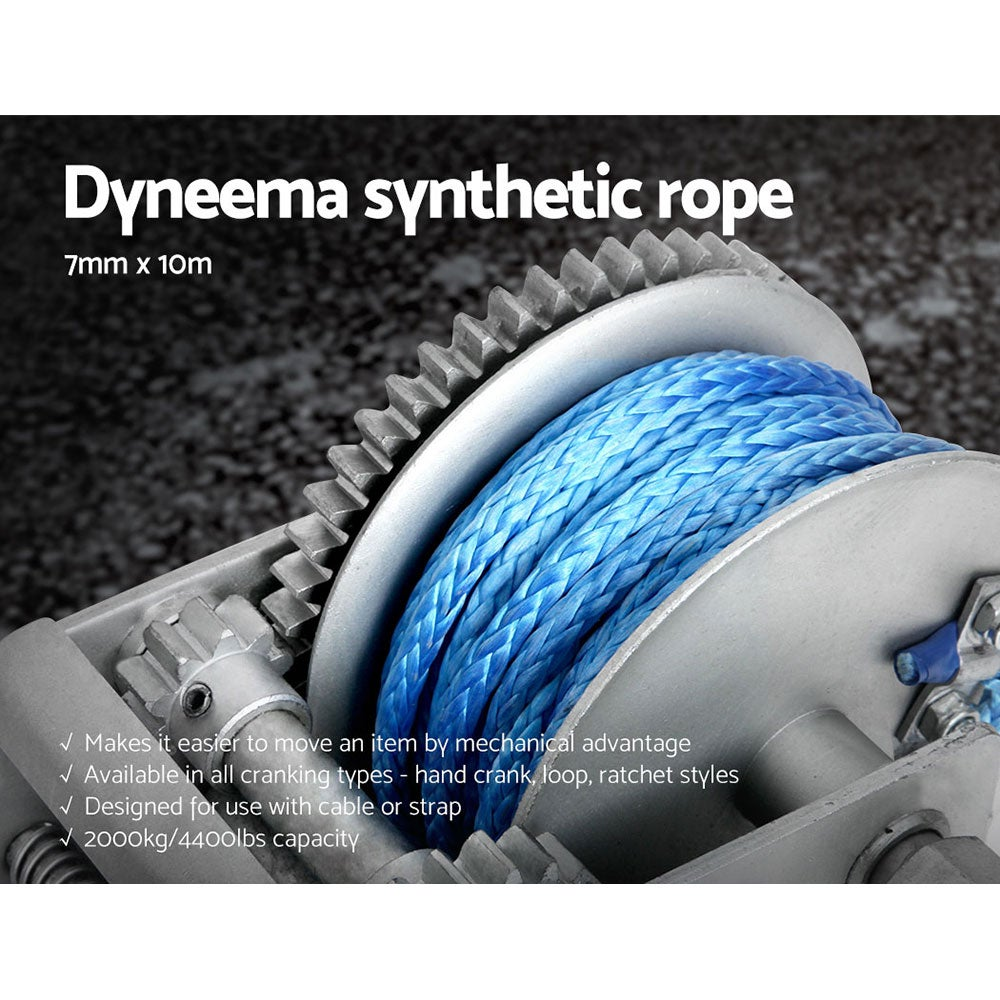 2000KG/4410LBS 3 Speed Hand Winch Dyneema Synthetic Rope Boat Car 10M
