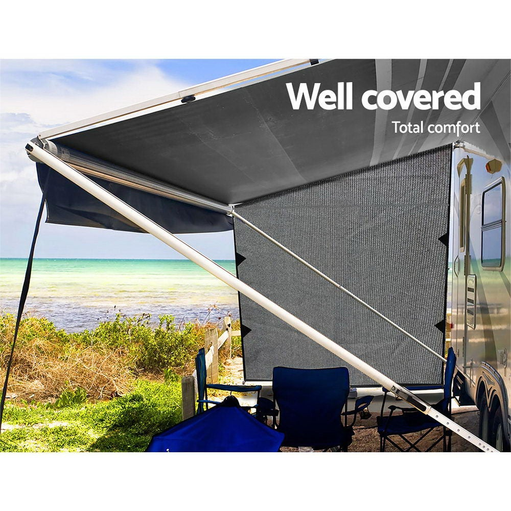 Caravan Privacy Screen End Wall / Side Sun Shade Roll Out ...