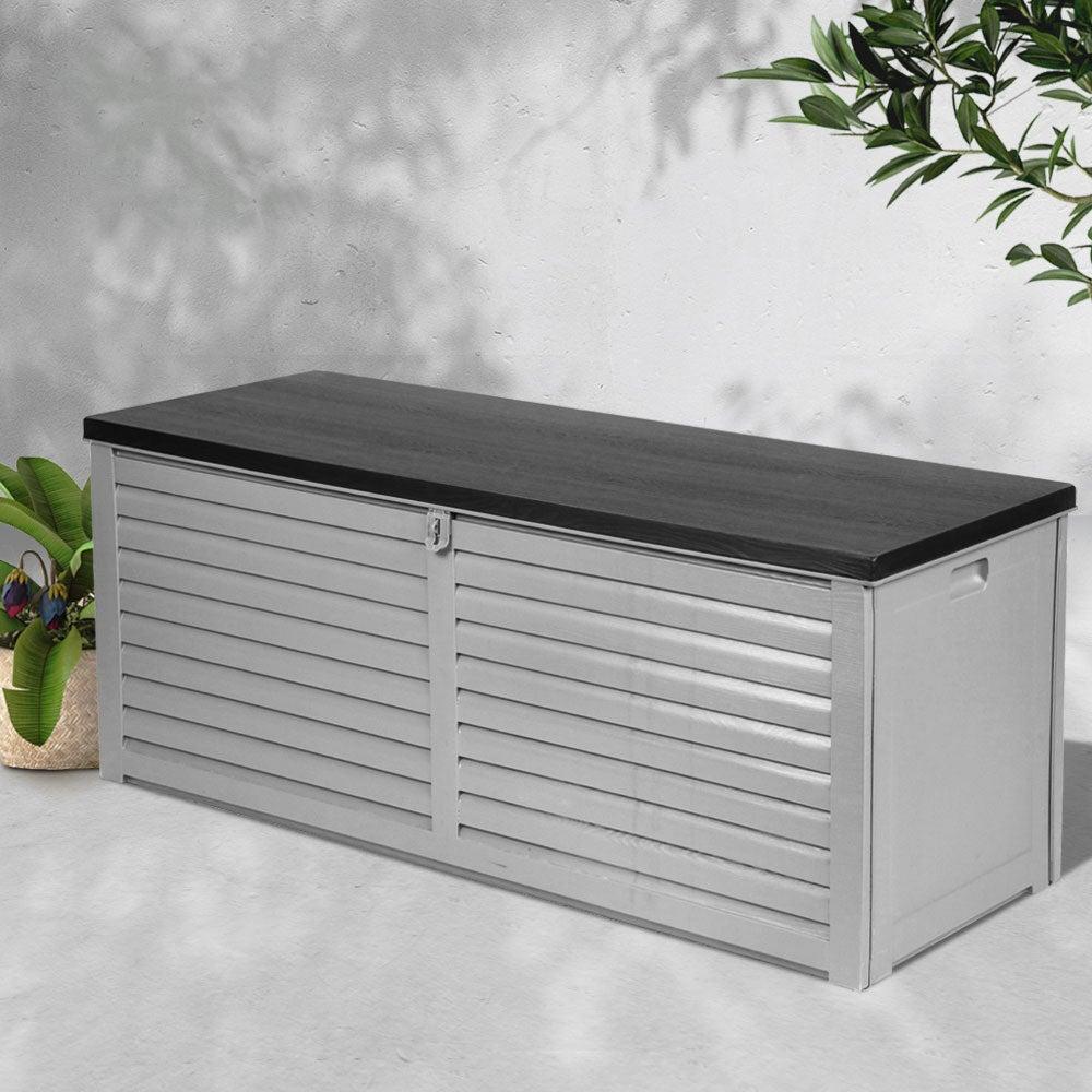 vidaXL Garden Storage Bench Poly Rattan Outdoor Cabinet Multi Box Garden Patio Bench Cushion Storage Box Chest Container 120cm Black