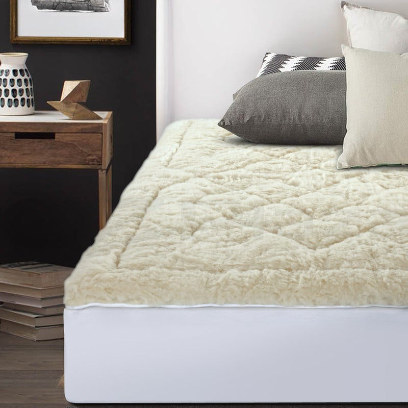 new concept a019d 927cd Giselle Bedding Reversible Wool Underlay Mattress Topper Underblanket  Cotton Fabric King Single