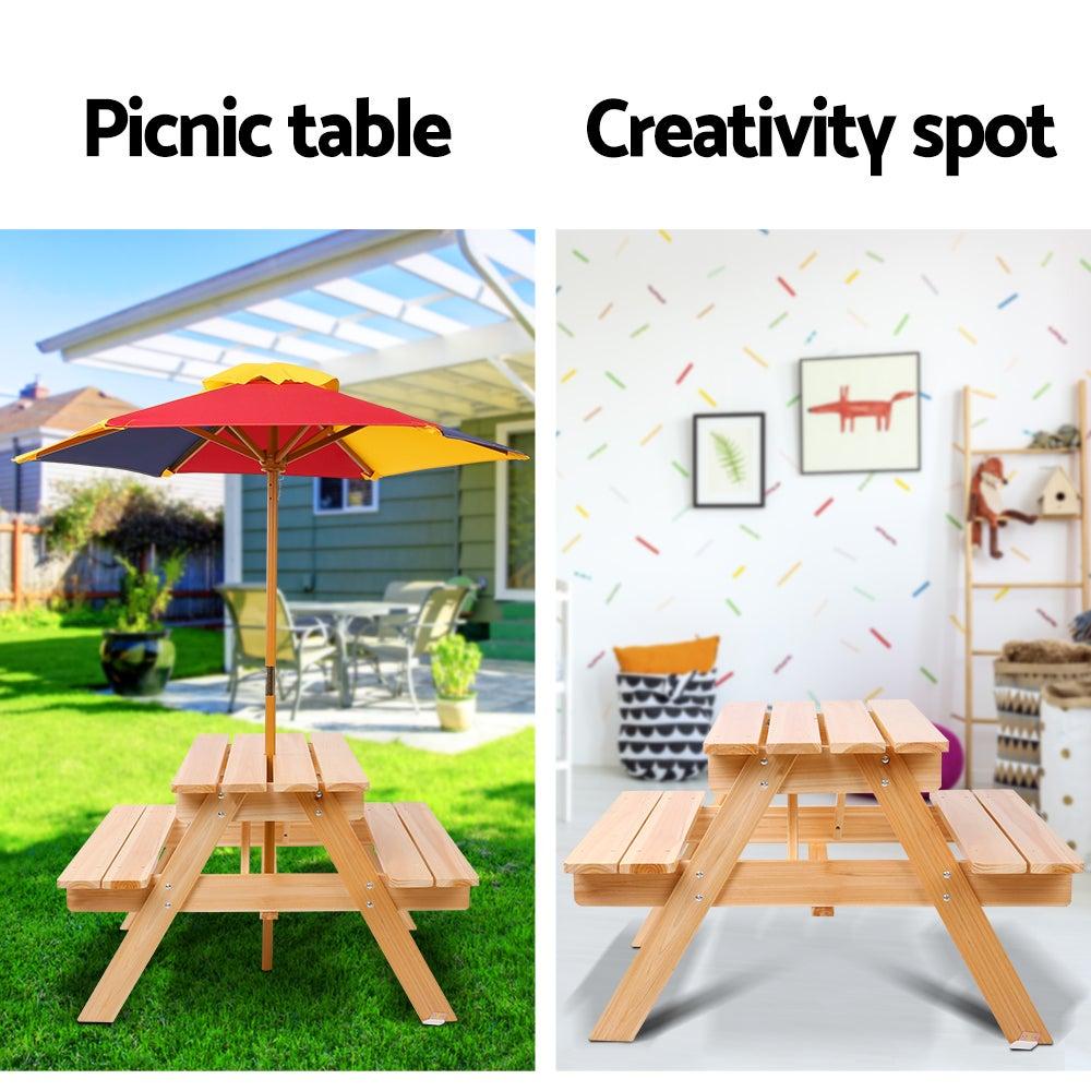 Keezi Kids Wooden Picnic Table Set with Umbrella | Buy ...