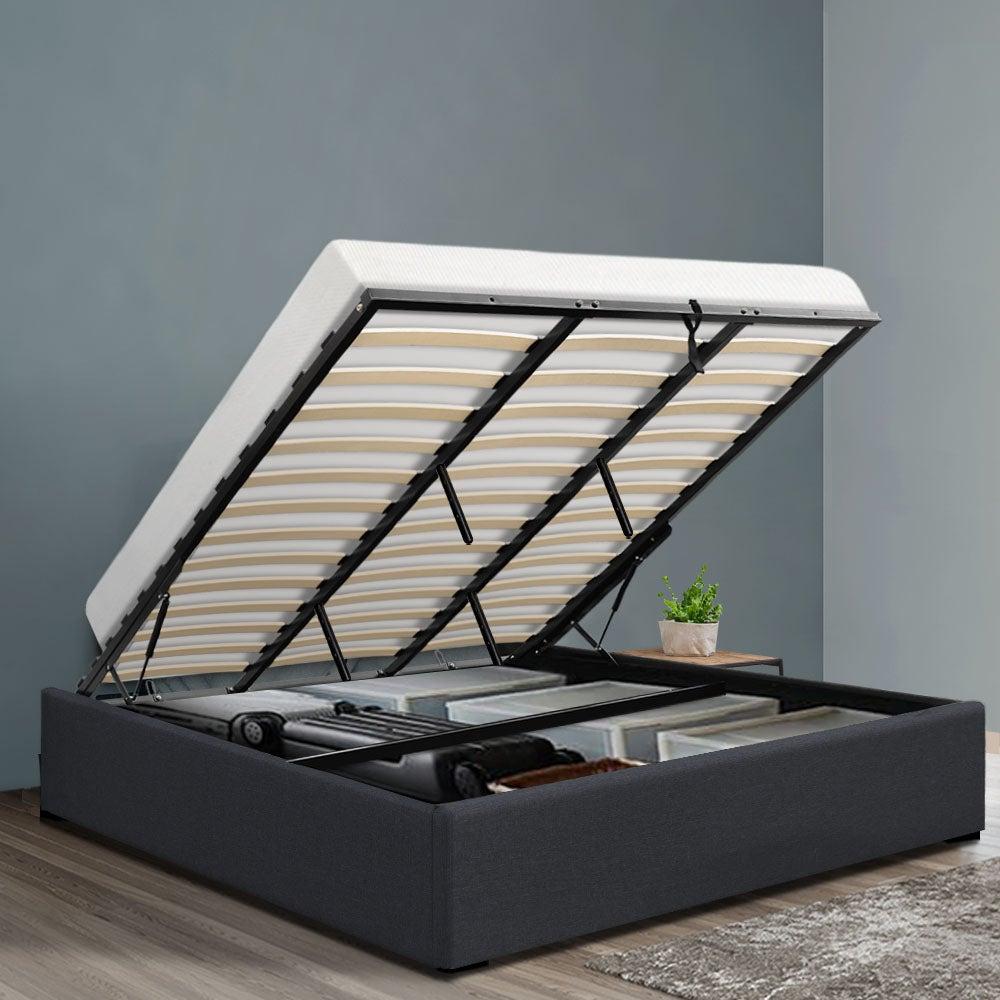 King Size Gas Lift Bed Frame Base With Storage Platform