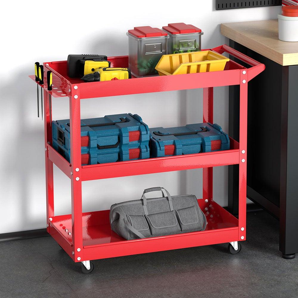 vidaXL 2x Workshop Tool Trolley 100kg 2 Shelves Garage Transport Carrier Cart