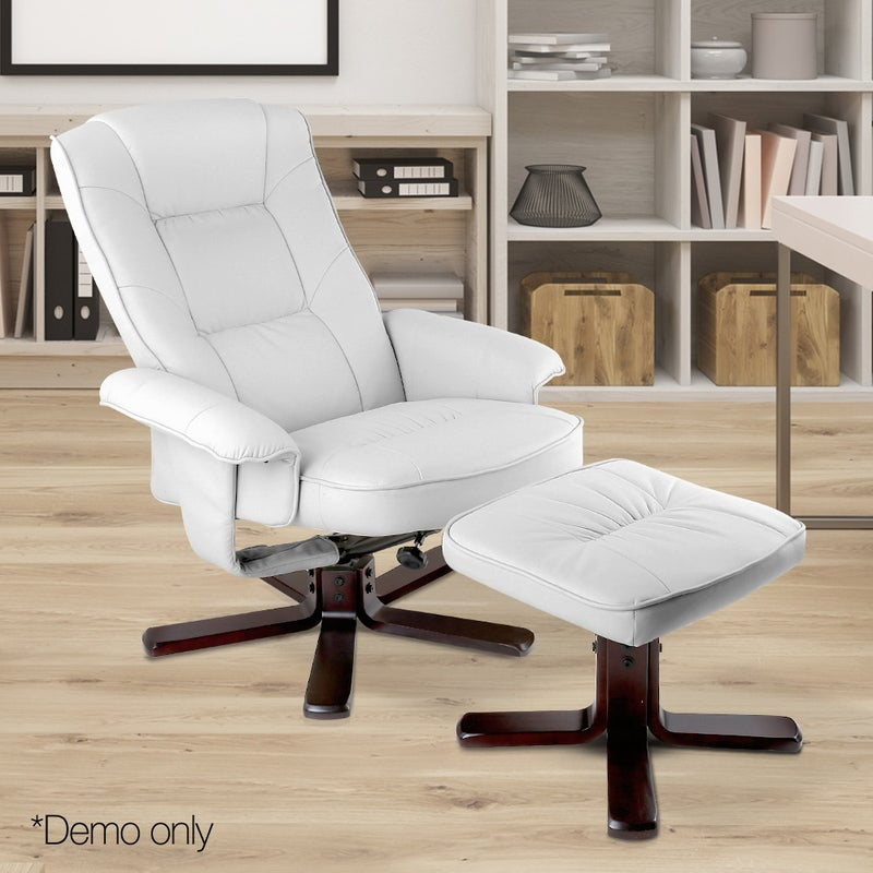 Artiss PU Leather Wood Armchair Recliner - White | Buy ...
