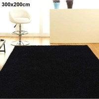 Stylish High Density Shaggy Rug in Black 300x200cm