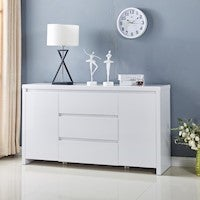 High Gloss Piano Finish White Buffet Sideboard with 3 Drawers